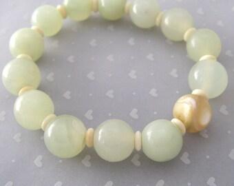 Jade Jewelry, Handmade Green Bracelet, New Jade Bracelet, Chakra, Mother of Pearl Jewelry, Wedding Bracelet, Sweet 16, gift for wife girl
