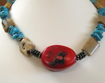 Coral Turquoise Necklace, Handmade Turquoise Necklace, Southwest Jewelry, Sterling Silver Jewelry, Bali Silver Coral Necklace, Cowgirl Bride