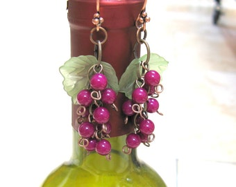 Wine Lover Earrings, Vineyard weddings, Gypsy Style, grape cluster jewelry, gift for wine connoisseur, wine gift, bridesmaid jewelry