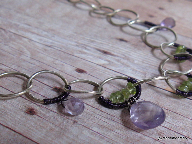 Gemstone Jewelry Peridot Purple Jewelry 17th Anniversary Gift Amethyst Necklace Gift for Mom Gift for Wife Mothers Day Gift