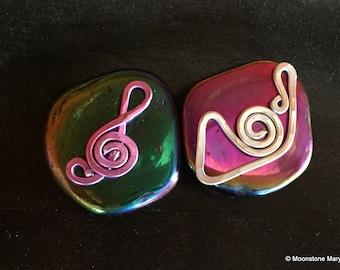 Zen Palm Stone, calm centering meditation stone, rainbow titanium, French Horn Fridge Magnet, Music Lover Handmade gift, housewarming gift