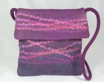 Purple Wool Felt Messenger Bag, Felt Cross Body Bag, Felt Handbag, Felt Purse, Messenger Bag Women, Cross Body Bag,Felted Wool Bags,Hobo Bag