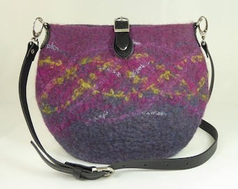 Felt Messenger Bag, Felt Crossbody Bag, Felt Shoulder Bag, Felt Bags for Women, Felt Bags,Felted Bags,Wool Bags,Purple Sparkle Messenger Bag
