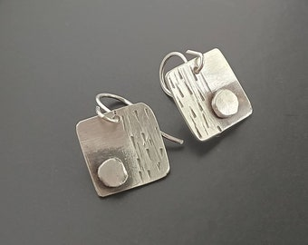 Mini Silver Earrings, Textured, Modern, Artisan Jewelry