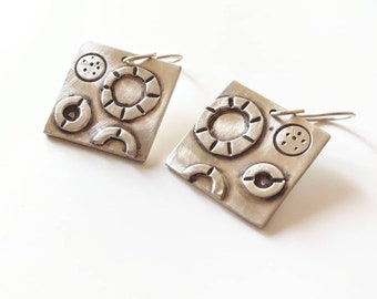 Diatom Earrings, Sterling Silver Circle Earrings, OOAK, Modern, Organic Jewelry