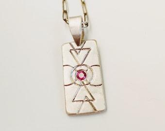 Ruby Geometric Pendant, Sacred Geometry Jewelry, Artisan, OOAK, Silver Necklace