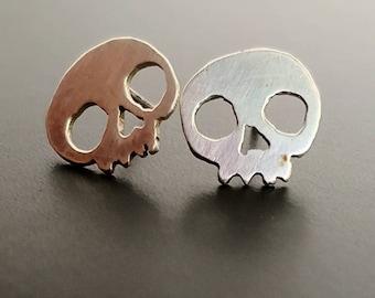 Little Skull Earrings, sterling silver post earrings, Dia De Los Muertos, Halloween earrings, handcrafted, funky earrings, edgy jewelry