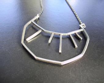 Crescent Pendant, Abstract Half Moon, Geometric, Silver Moon, OOAK Jewelry