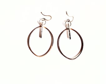 Ombré Hoops, Autumn Leaf Earrings, Silver Botanical Jewelry, Abstract Jewelry