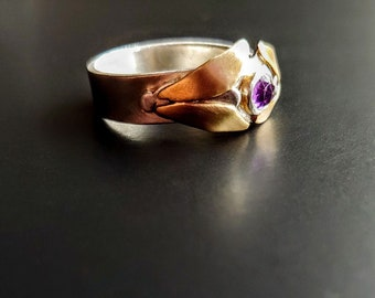 Moth Amethyst Ring , Sterling Silver, Mixed Metal Artisan Jewelry, OOAK, Insect Ring, Unisex