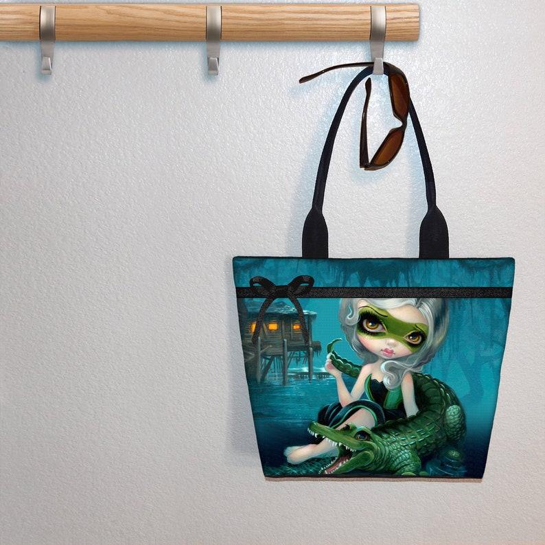 5d095dcb6258 Alligator Girl Jasmine Becket Griffith tote bag, book tote, large purse,  canvas tote, shoulder bag