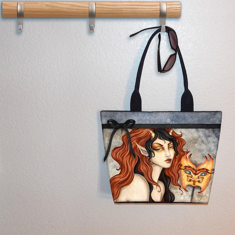 book bag gym bag beach tote large purse Amy Brown Goblin Mask Steampunk tote bag shoulder bag book tote canvas tote
