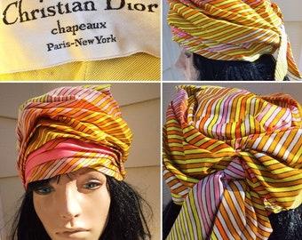 575f5ce6 Christian Dior Chapeaux Paris New York Colorful Pucci Style 60s Stripe Turban  Hat Cap