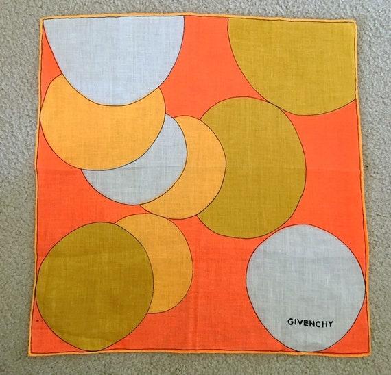 Rare Givenchy 1960s POP ART Linen Pocket Square Sc