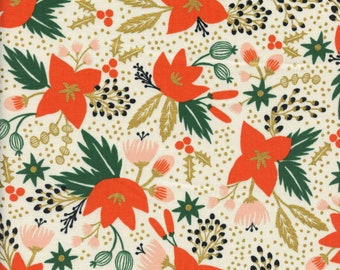 Sold by the Half Yard - Cotton + Steel Rifle Paper Co. Holiday Classics Poinsettia in Cream METALLIC