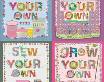 Sold by the PANEL - Blend Fabrics Home Grown DIY in Multi Dark