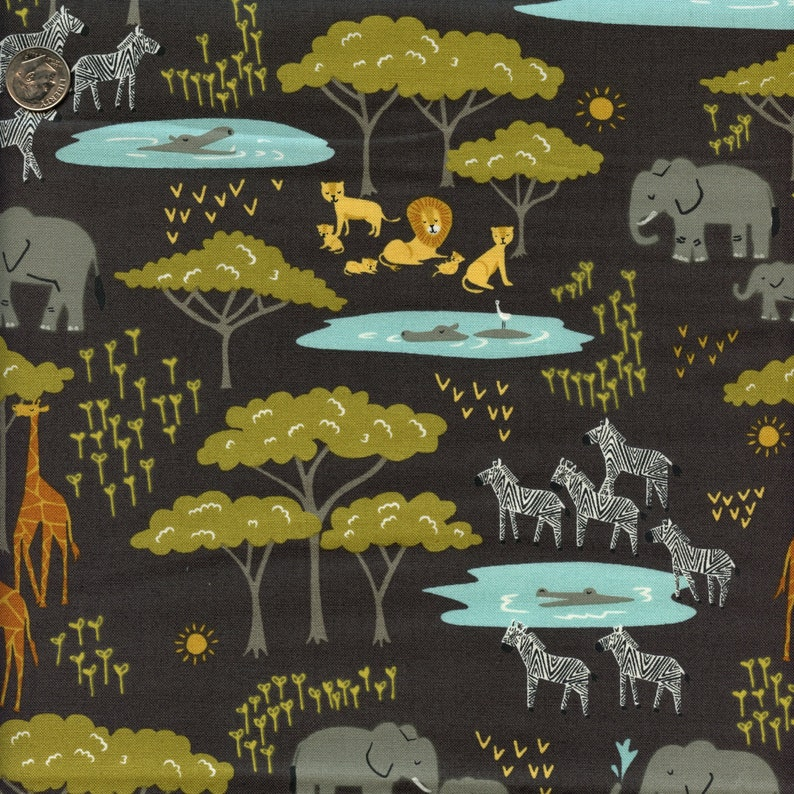 Moda Safari Life Watering Hole in Black  Half Yard image 0