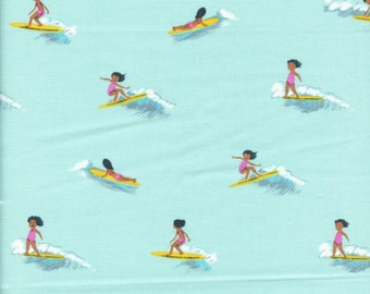 Sold by the Half Yard - Malibu Tiny Surfers in Sea Foam by Heather Ross for Windham Fabrics