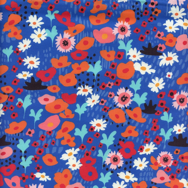 Moda Fabrics Botanica Small Floral in Royal Blue  Half Yard image 0