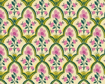 Sold by the Half Yard - Malibu Wood Block in Pink by Heather Ross for Windham Fabrics