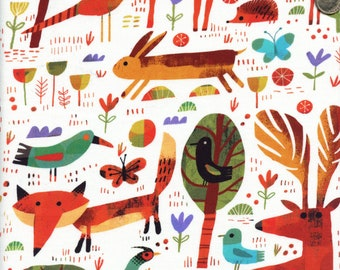 Sold by the Half Yard - Woodland Animals in White by Gareth Lucas for Windham Fabrics (Digitally Printed)
