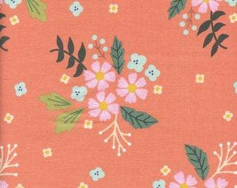 Sold by the Half Yard - Community Floral in Coral by Riley Blake