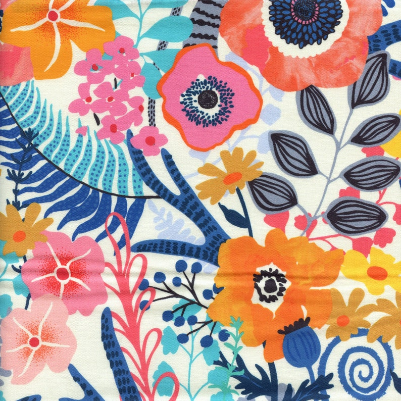 Moda Fabrics Botanica Large Floral in Porcelain  Half Yard image 0