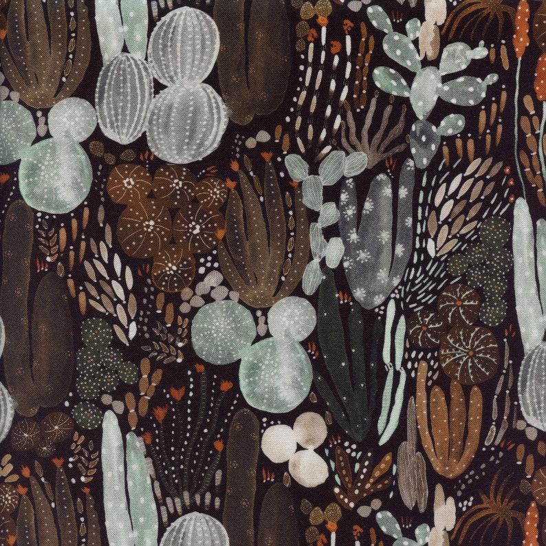 Figo Fabrics Desert Wilderness Cacti in Black  Half Yard image 0