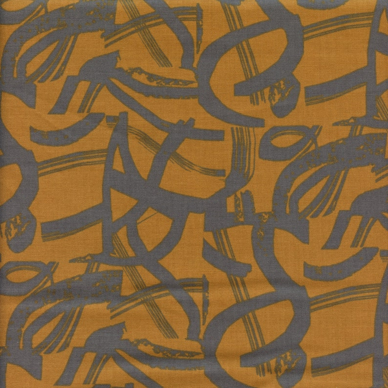 Cotton  Steel In Bloom On The Way in Ochre  Half Yard image 0