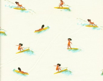 Sold by the Half Yard - Malibu Tiny Surfers in Cream by Heather Ross for Windham Fabrics
