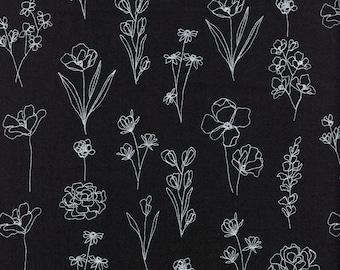 Sold by the Half Yard - Alli K Illustrations Flower Pattern 4 in Black by Moda