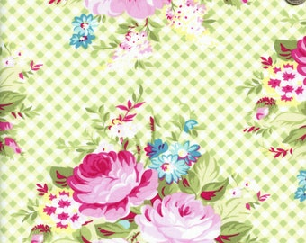Sold by the Half Yard - Sunshine Picnic Bouquet in Green by Tanya Whelan for Clothworks
