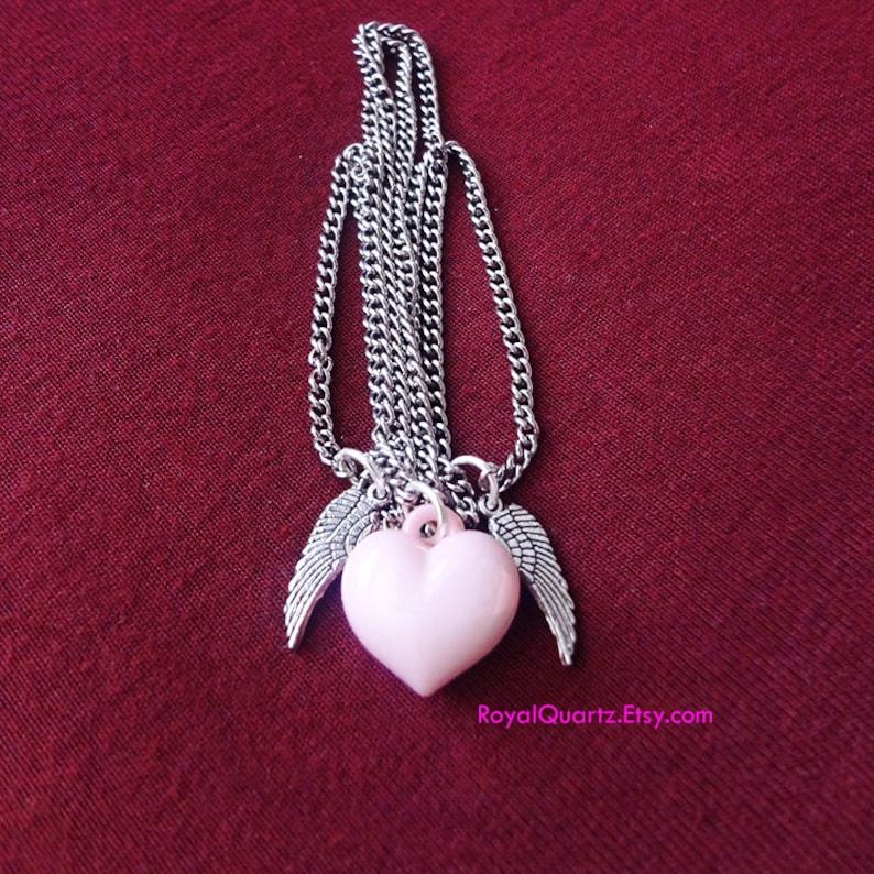 Girly Angel Wings Necklace by Royal Quartz Pastel Pink Cute Decora Sweet Lolita Yume Kawaii One of a kind Kawaii Gaijin