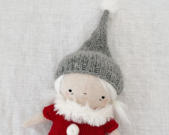 RESERVED handmade christmas elf in red knit romper - cloth doll, fabric doll, holiday decoration
