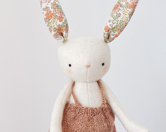 spring bunny - wool bunny softie with hand knit skirt