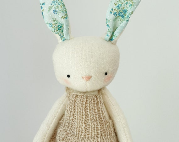 spring bunny - wool bunny softie with hand knit overall skirt