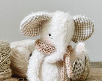 small jointed fuzzy mohair elephant - white elephant with gingham ears