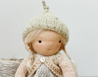 """small waldorf doll """"aisling"""" - in hand knit dress, bloomers, cardigan and hat"""