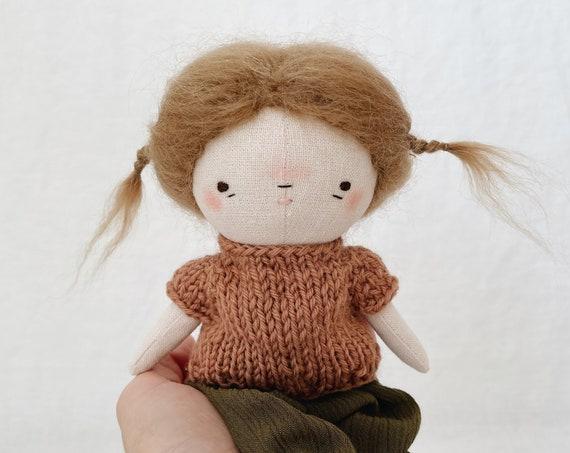 "handmade doll ""mina"" - cloth doll, heirloom doll, girl doll, fabric doll"