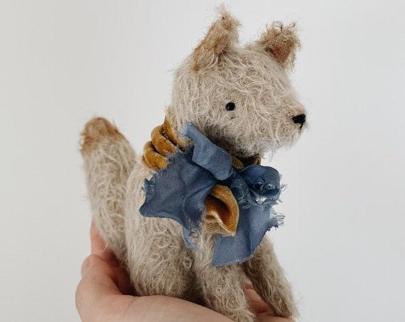 mohair fox in velvet & silk | soft sculpture animal, mohair bear
