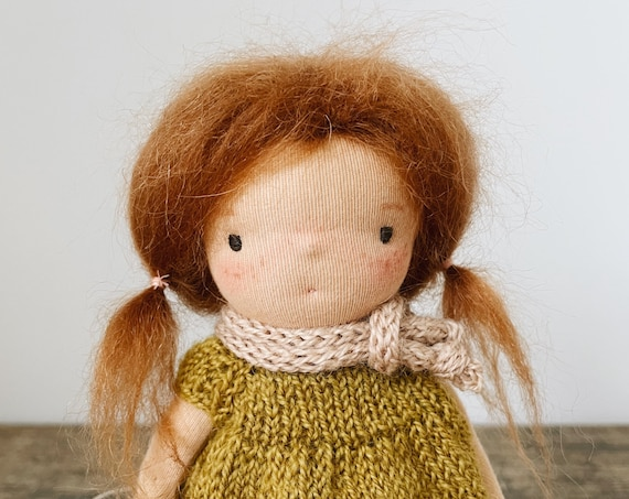 """small waldorf doll """"ruthie"""" - in hand knit dress, pants & scarf"""