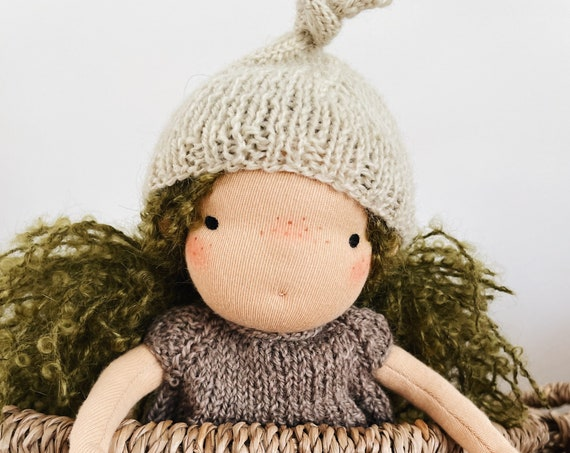 "small green-haired waldorf doll ""evie"" in hand knit romper and hat"