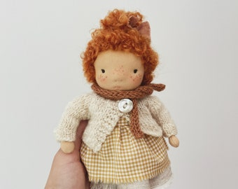 """small waldorf doll """"mathilde"""" in linen dress with hand knit cardigan & bloomers"""