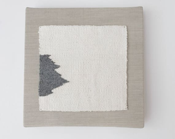 quiet and real | handwoven textile mounted on canvas