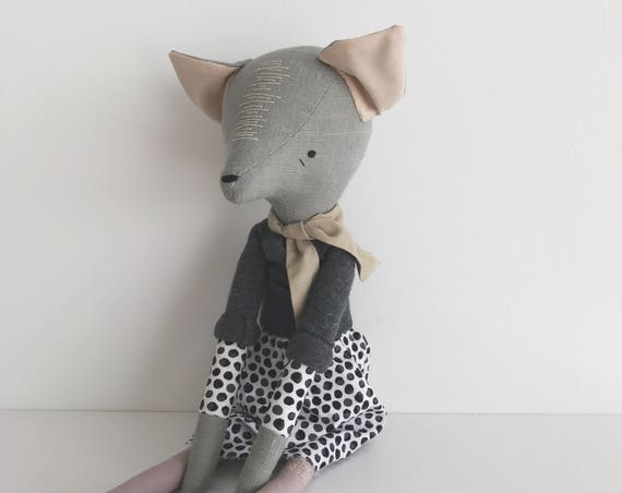 SALE - domesticated wood sprite | handmade cloth doll | polka dots and a cozy sweater