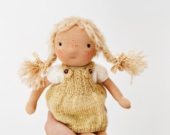 """handmade waldorf doll """"nora"""" in handknit outfit"""