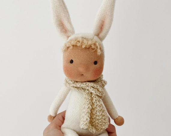 small waldorf bunny doll with knit scarf