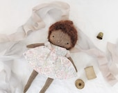 handmade cloth doll, fabric doll, linen baby doll, little girl doll