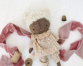 RESERVED handmade cloth doll, little girl doll, sprite fabric doll, linen wool cotton handmade toy