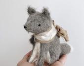 wolf cub soft sculpture - mohair bear
